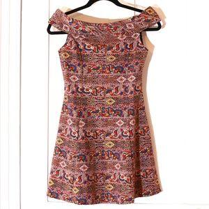 Zara Tapestry Brocade Boatneck A-line Mini Dress